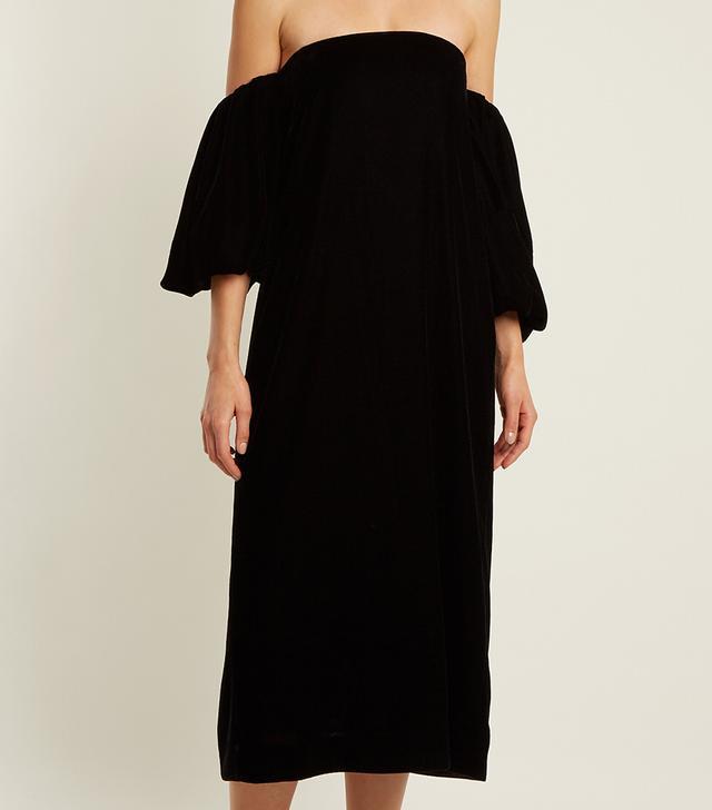 Vanna off-the-shoulder velvet dress