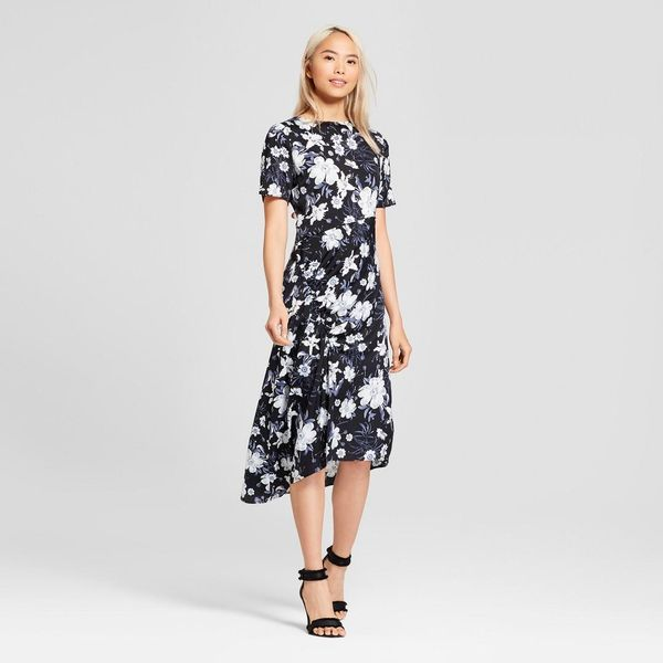 Short Sleeve Asymmetric Shirred Midi Dress