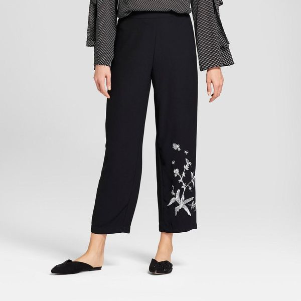 Relaxed Embroidered Ankle Trousers