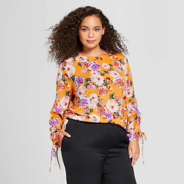 Plus Size Tied Long Sleeve Blouse