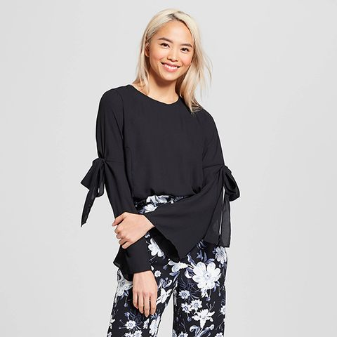 Long Sleeve Airy Tie Blouse