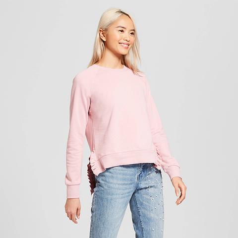 Long Sleeve Ruffle Slit Sweatshirt