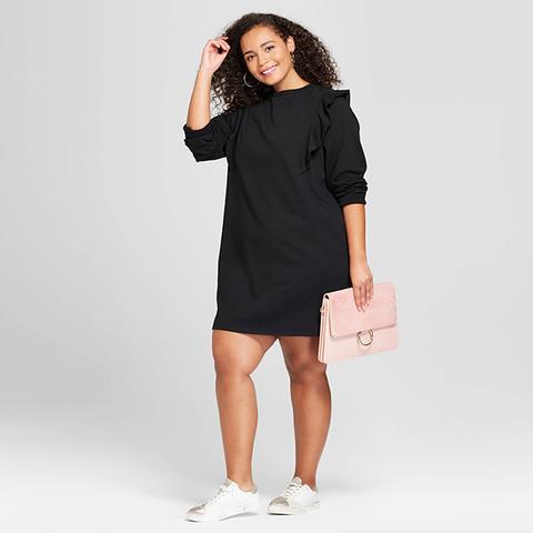 Long Sleeve Ruffle Sweatshirt Mini Dress