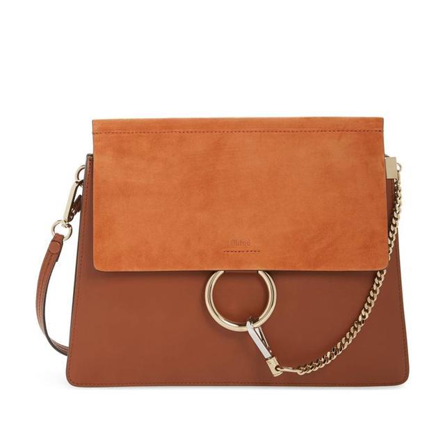 Faye Suede & Leather Shoulder Bag - Purple