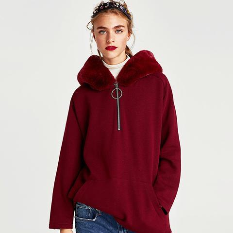 Sweatshirt With Textured Hood