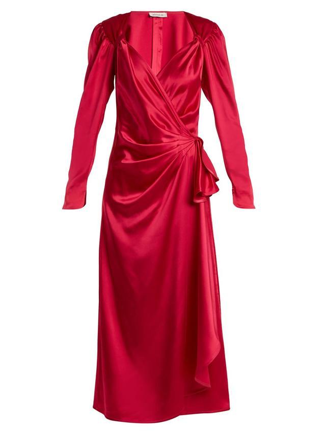 Pat sweetheart-neck asymmetric satin dress