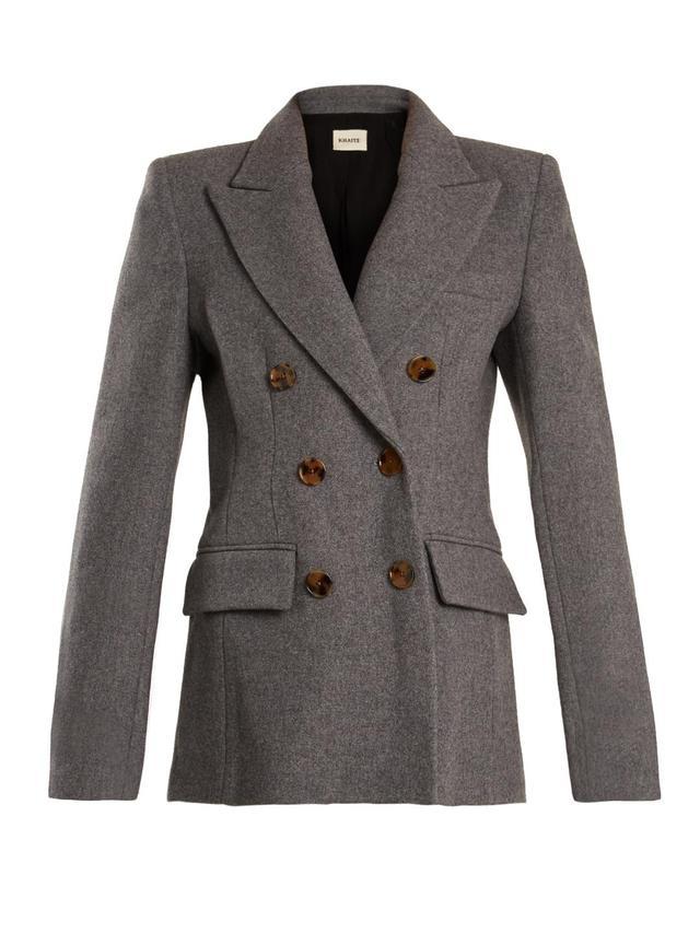 Darla peak-lapel double-breasted wool jacket