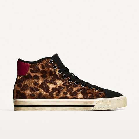 Animal Print High-Top Sneakers