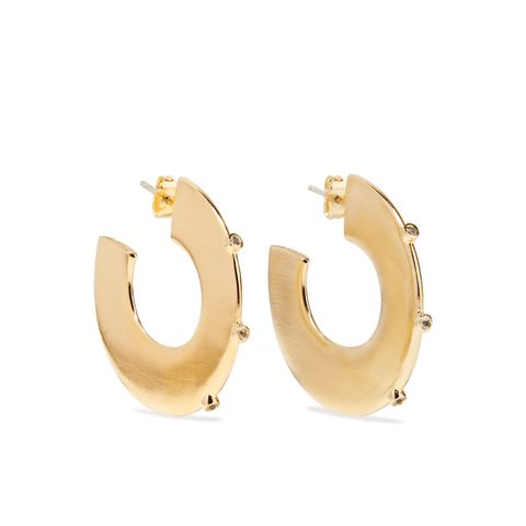 Joni Gold-Plated Topaz Hoop Earrings