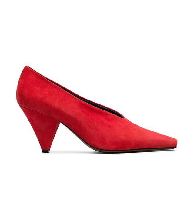 red Suede Aunty 60 pumps