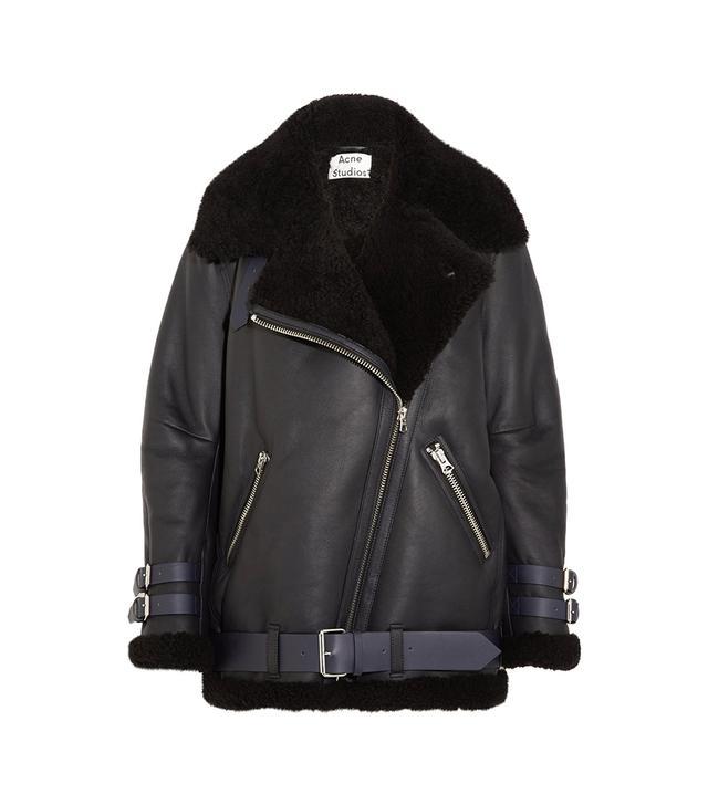 Velocite Shearling-trimmed Leather Biker Jacket