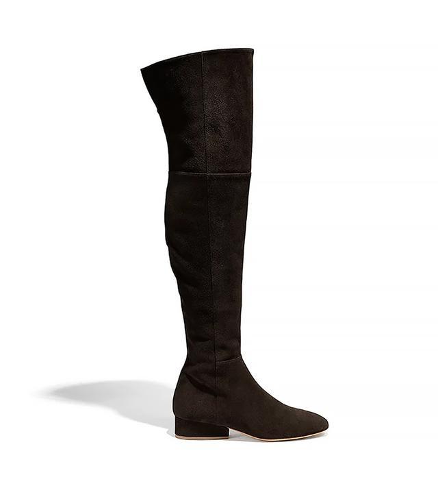 Salvatore Ferragamo Wave Heel Over the Knee Boots