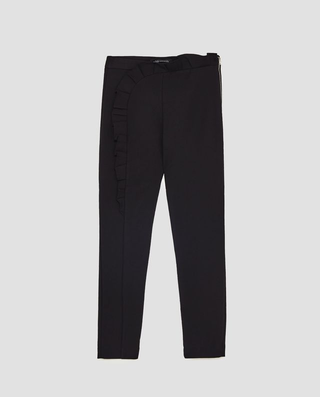 Zara Trousers With Vertical Ruffle