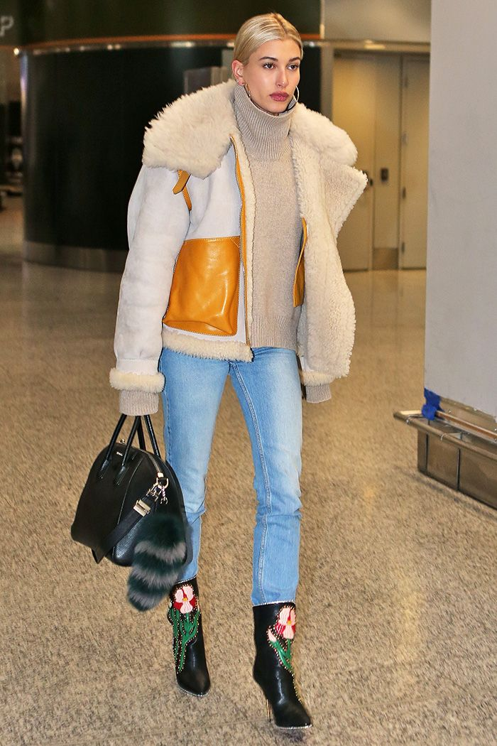 hailey baldwin airport, gucci boots