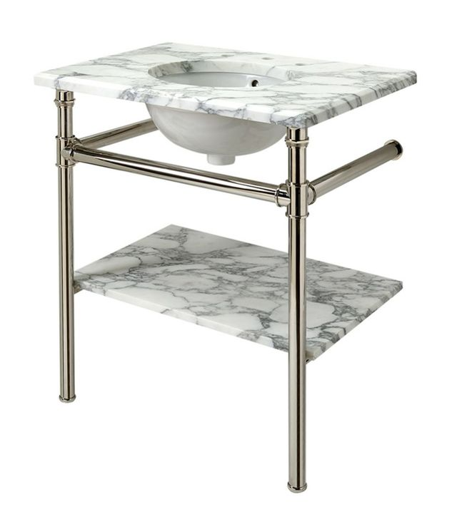 Waterworks Henry Metal Round Single Two Leg Washstand