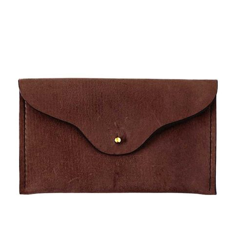 Leather Envelope Clutch in Chocolate