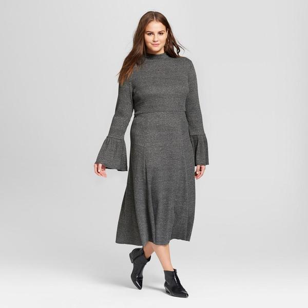 Plus Size Ruffle Knit Midi Dress