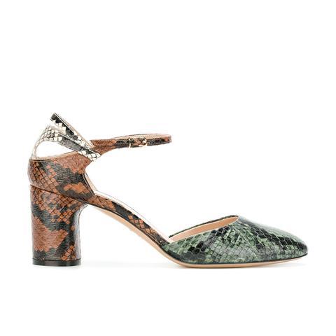 Snakeskin Block-Heel Pumps