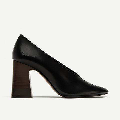 V Vamp Soft Leather Court Shoes