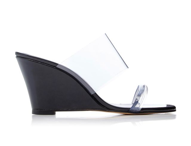 Olympia PVC-Trimmed Leather Wedge Heels