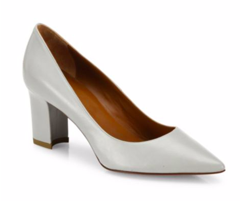 Michaela Point Toe Leather Block-Heel Pumps