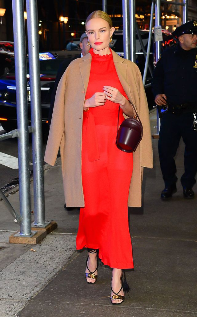 On Kate Bosworth: Mansur Gavriel coat; Victoria Beckham dress; Jennifer Fisher jewelry; Gabriela Hearst bag