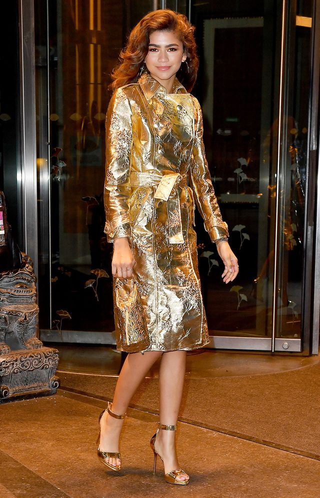 On Zendaya: Giuseppe di Morabito metallic coat dress; Bienen-Davis bag