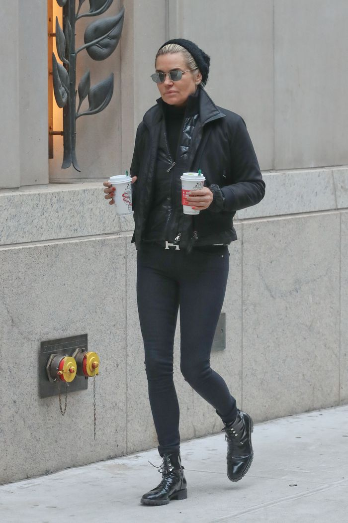 Yolanda Hadid wearing combat boots