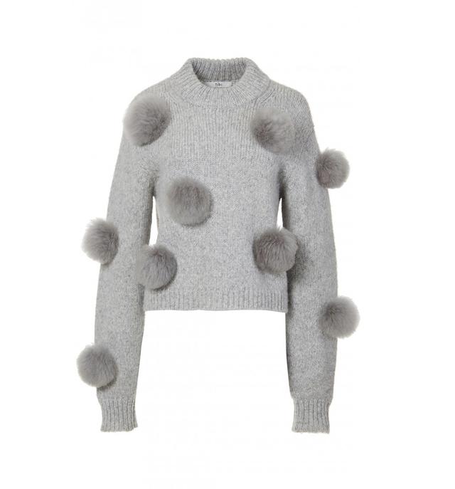 Alpaca Pom Pom Cropped Sweater