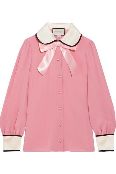 Faux Pearl And Bow-embellished Silk Crepe De Chine Shirt