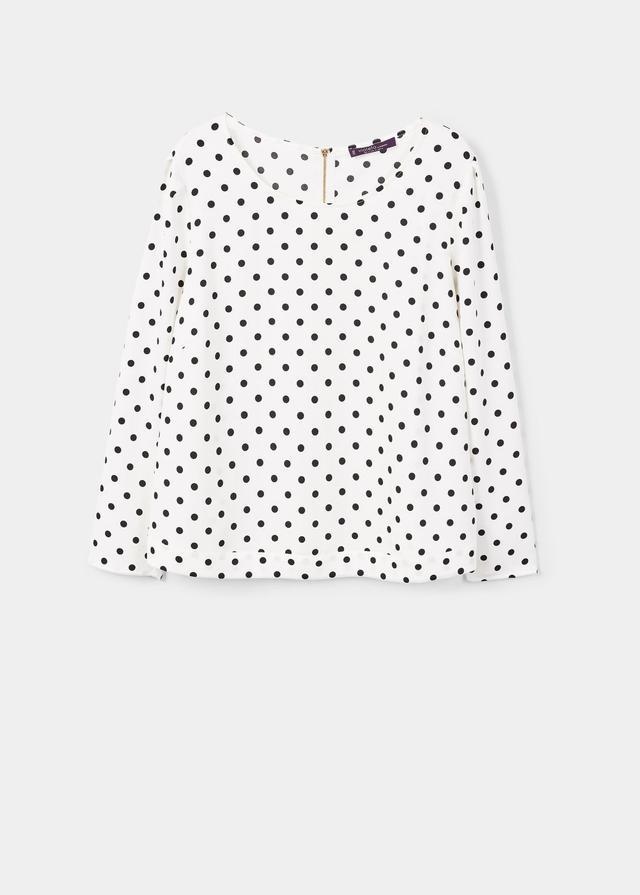 Polka-dot flowy blouse