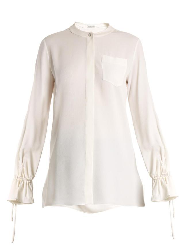 Christina fluted-cuff silk-blend crepe blouse