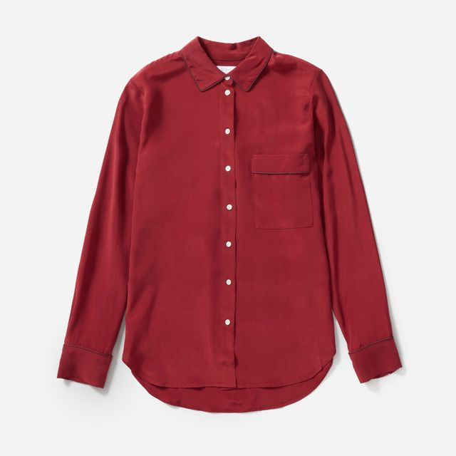 Women's Piped Silk Pocket Shirt by Everlane in Cabernet / Burgundy, Size 12