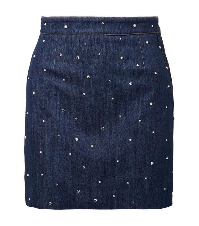Crystal-embellished Denim Mini Skirt