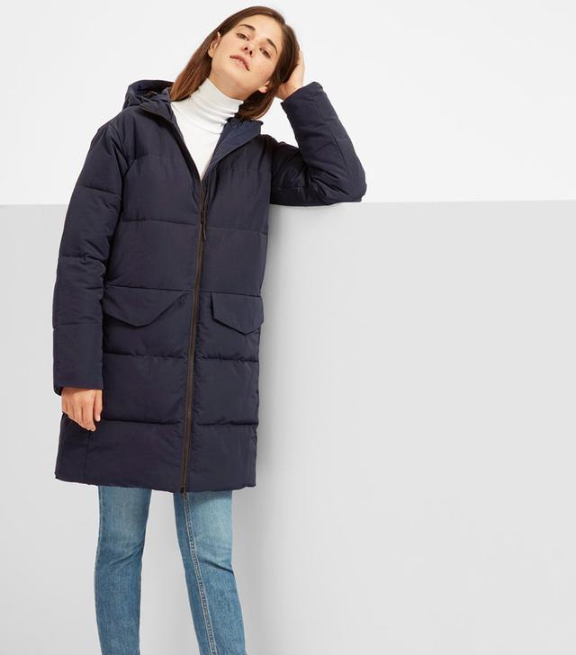 Women's Long Puffer Jacket Coat by Everlane in Navy, Size XL
