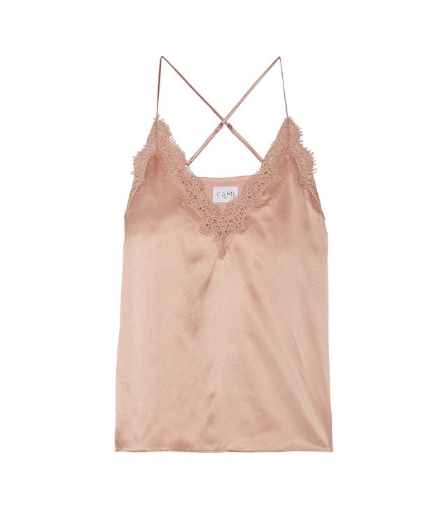 Exclusive Everly Lace-trimmed Silk-charmeuse Camisole