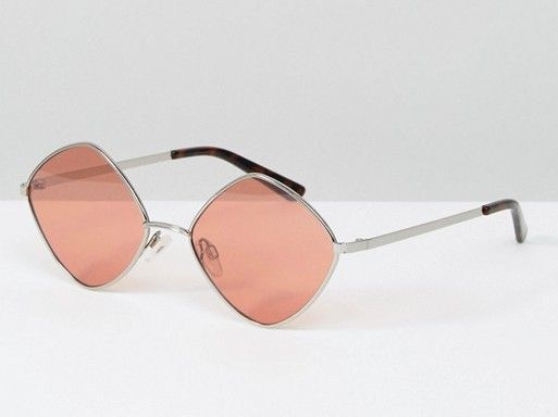 Diamond Frame Glasses with Tinted Rose Lens