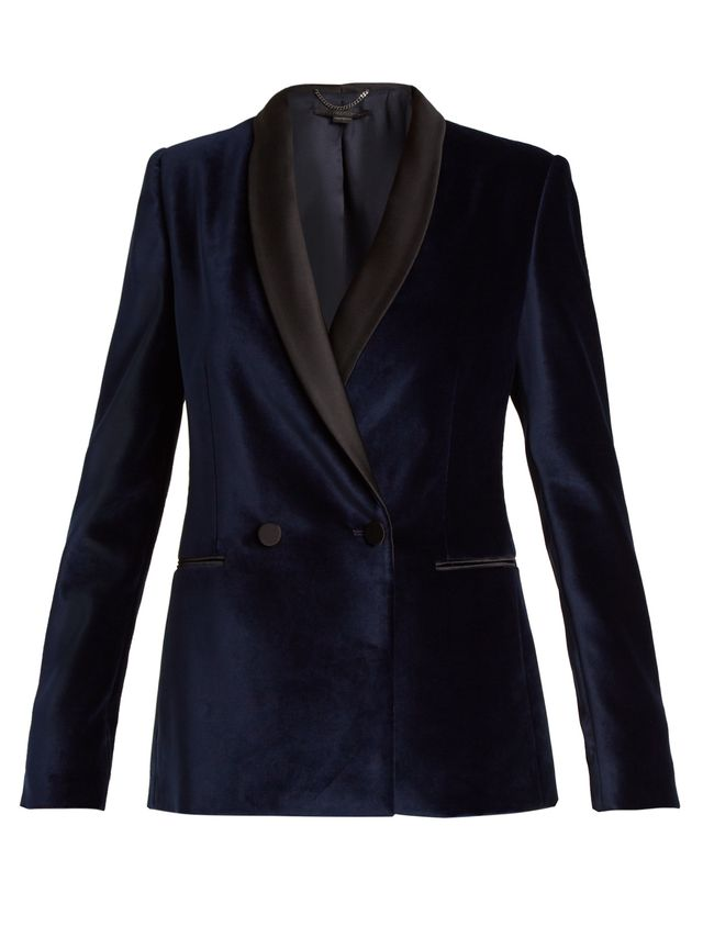 Double-breasted velvet jacket