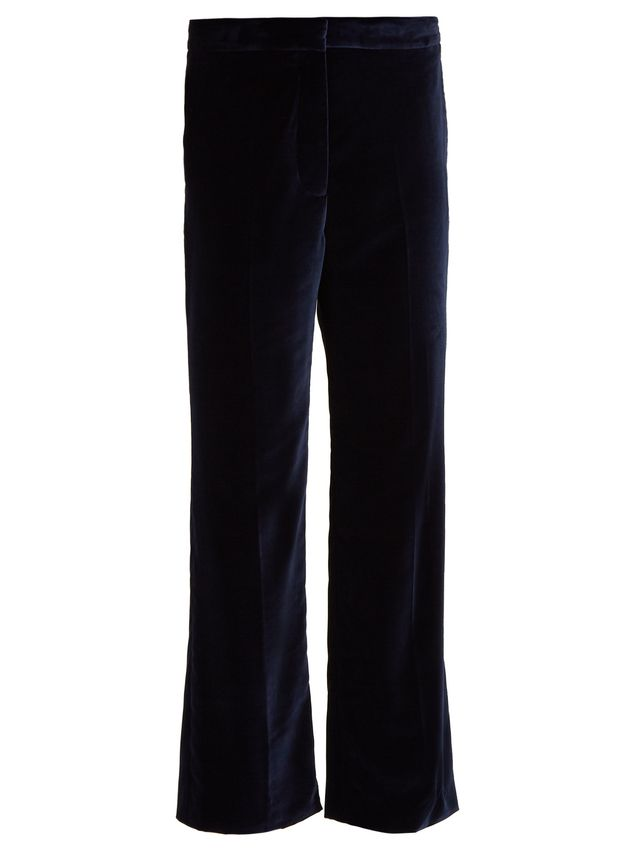 Kick-flare cropped velvet trousers