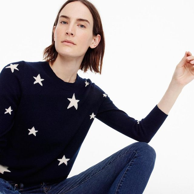 Everyday cashmere sweater in kaleidescope star print