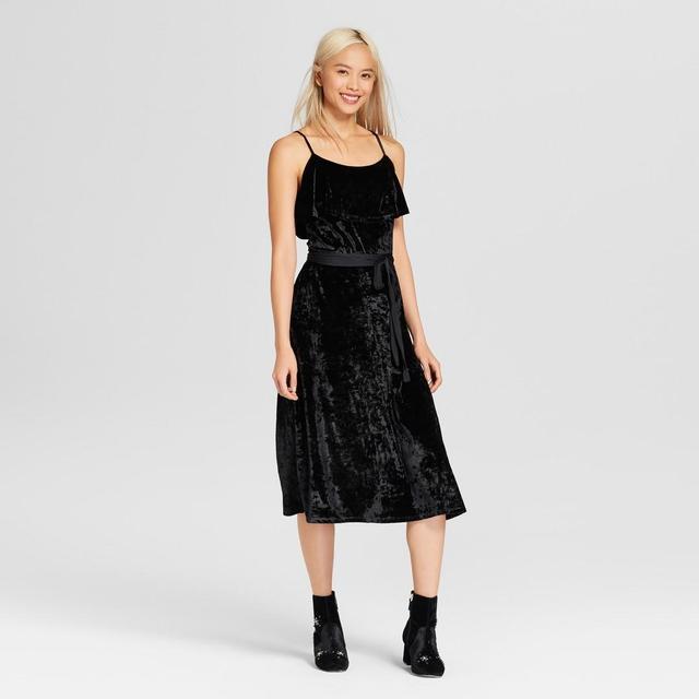 Satin Tie Velvet Midi Dress