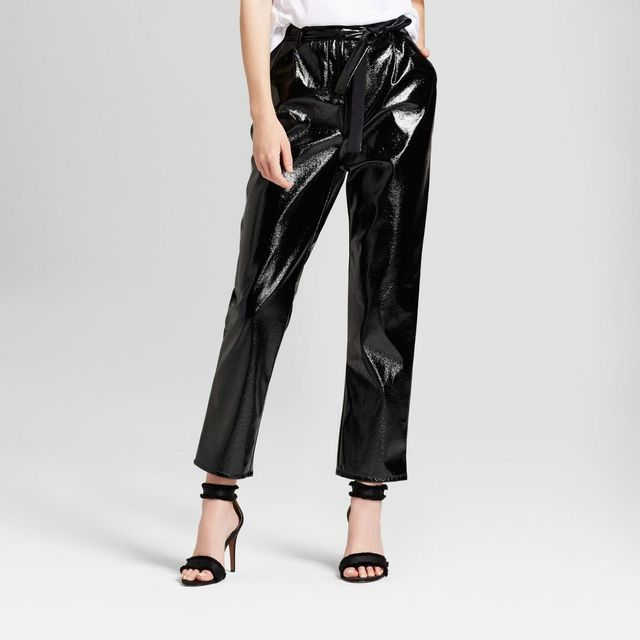Tapered Leg Patent Paperbag Trousers