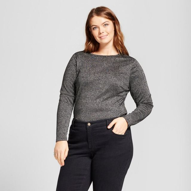 Plus Size Metallic Rib Bodysuit