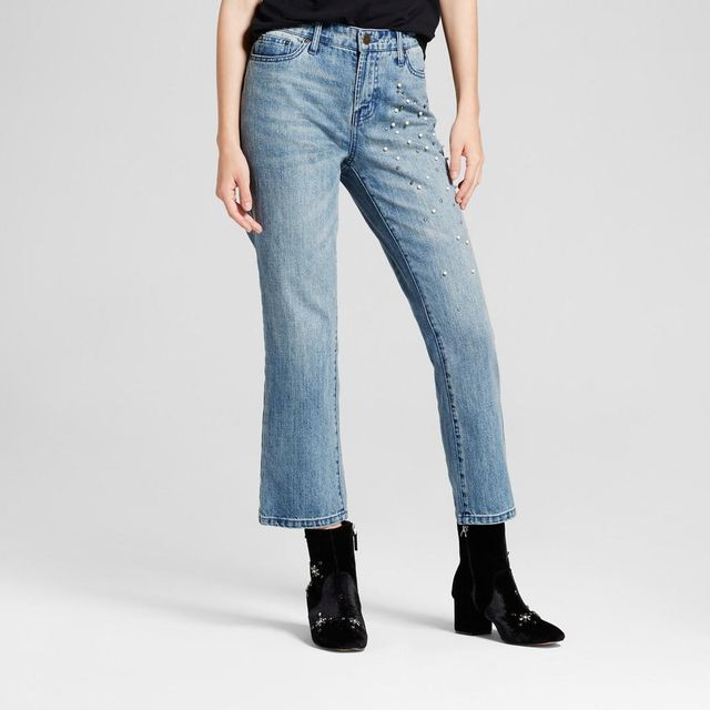 Straight Leg Pearl Embellished Jeans