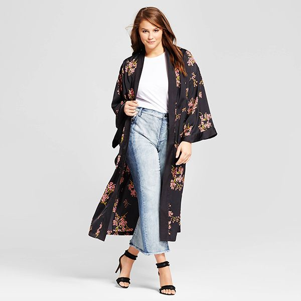 Plus Size Silky Robe Coat