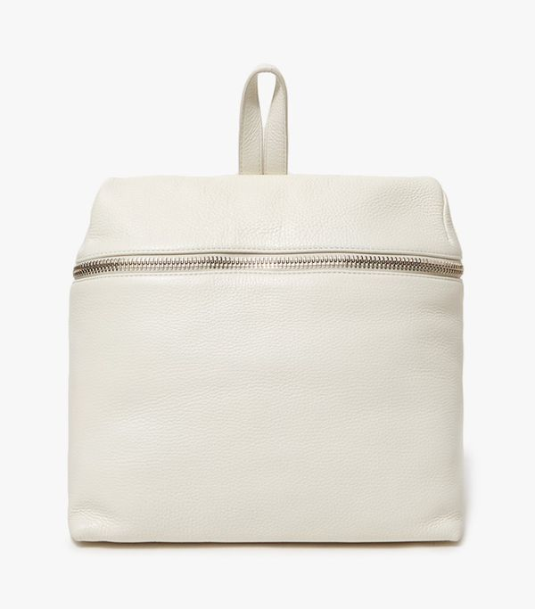 Pebble Leather Backpack in Off White