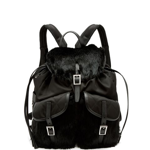 Small Fox-Fur Trimmed Nylon Backpack