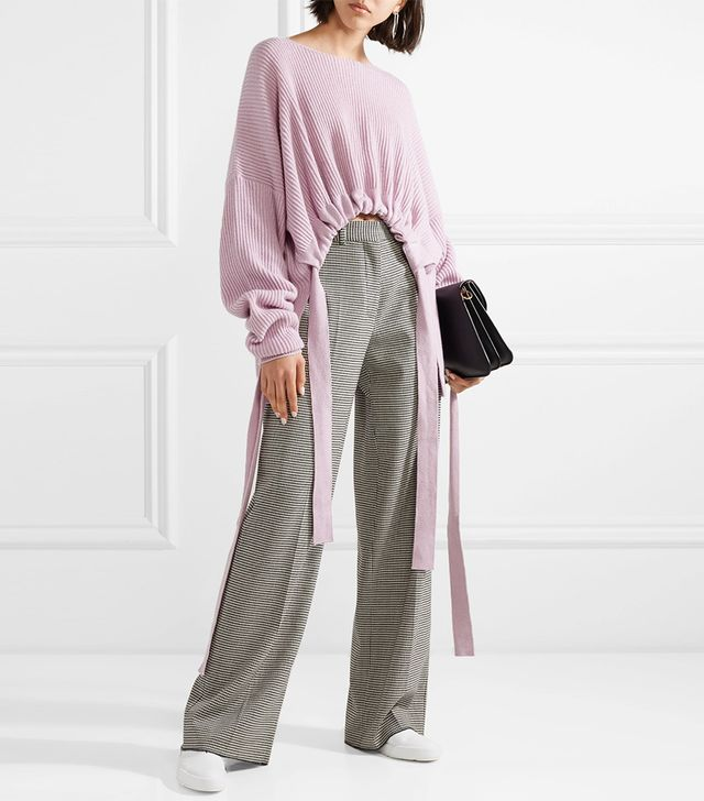 Gathered Asymmetric Ribbed Cashmere And Wool-blend Sweater
