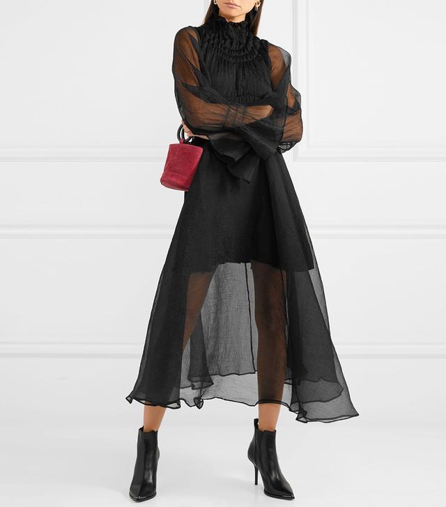 Sol Plissé-chiffon Midi Dress
