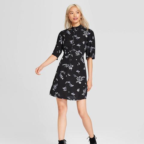 Flirty Mini Dress With O Ring Zip